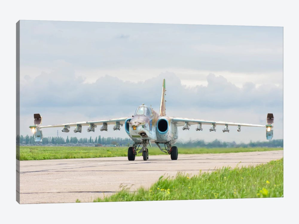 Ukrainian Air Force Su-25 Taxiing At Mykolaiv Air Base by Giovanni Colla 1-piece Canvas Art Print