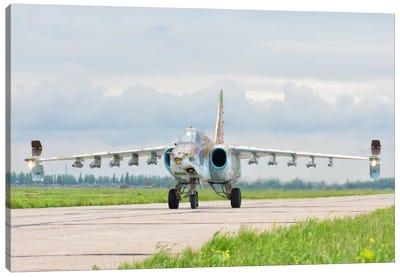 Ukrainian Air Force Su-25 Taxiing At Mykolaiv Air Base Canvas Art Print