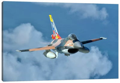 Venezuelan Air Force F-16 In Flight Over Brazil Canvas Art Print