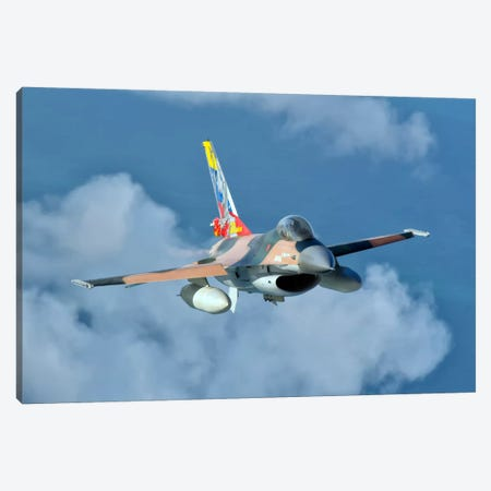 Venezuelan Air Force F-16 In Flight Over Brazil Canvas Print #TRK291} by Giovanni Colla Canvas Artwork