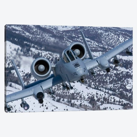 A-10C Thunderbolt Flies Over The Snowy Idaho Countryside I Canvas Print #TRK292} by HIGH-G Productions Canvas Artwork