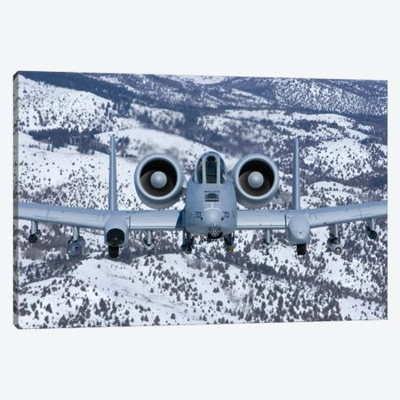 A-10C Thunderbolt Flies Over The Snowy Idaho Countryside II Canvas Print #TRK293} by HIGH-G Productions Canvas Art