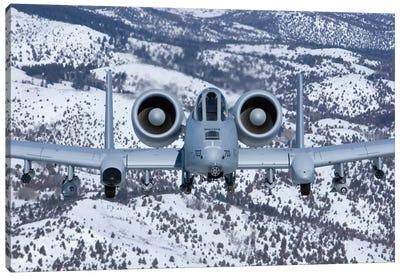 A-10C Thunderbolt Flies Over The Snowy Idaho Countryside II Canvas Art Print