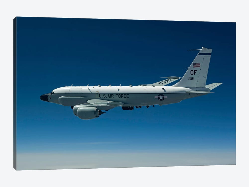 An RC-135W Rivet Joint Aircraft Flies Over The Midwest by HIGH-G Productions 1-piece Canvas Print
