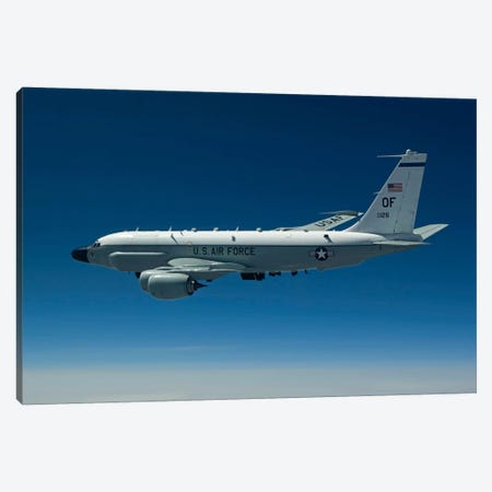 An RC-135W Rivet Joint Aircraft Flies Over The Midwest Canvas Print #TRK296} by HIGH-G Productions Canvas Art Print