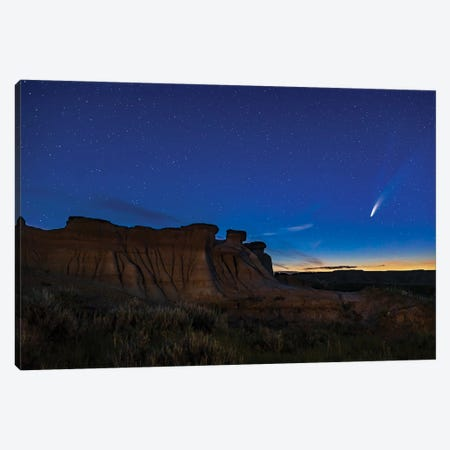 Comet Neowise Over Hoodoo Formations At Dinosaur Provincial Park, Alberta, Canada. Canvas Print #TRK2978} by Alan Dyer Canvas Art
