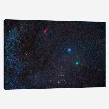 Comet Wirtanen 46P With Meteor And The Dark Clouds Of Taurus. Canvas Print #TRK2986} by Alan Dyer Canvas Wall Art