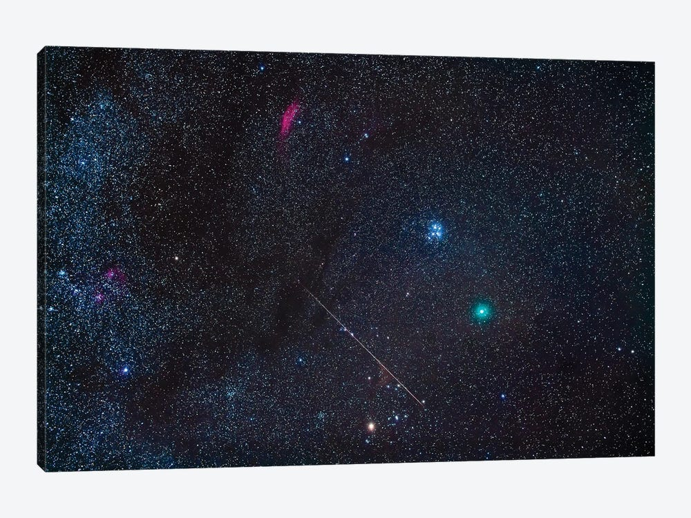Comet Wirtanen 46P With Meteor And The Dark Clouds Of Taurus. by Alan Dyer 1-piece Art Print