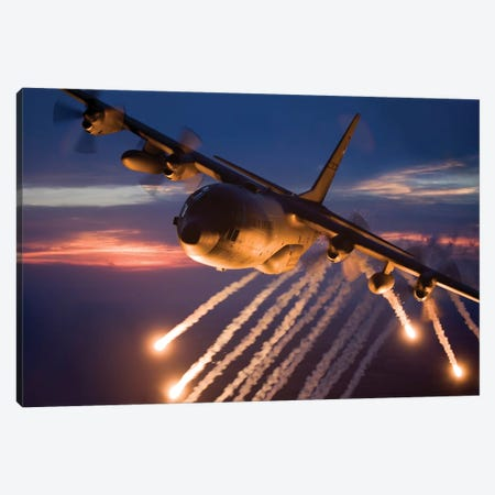 C-130 Hercules Releases Flares During A Mission Over Kansas Canvas Print #TRK298} by HIGH-G Productions Canvas Wall Art