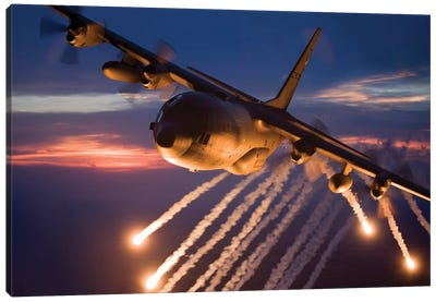 C-130 Hercules Releases Flares During A Mission Over Kansas Canvas Art Print