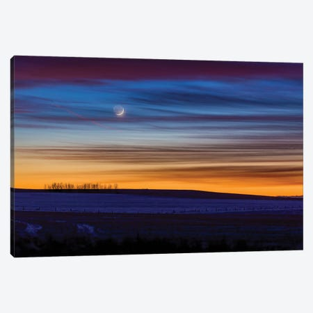 Crescent Moon In Colorful Twilight And Sunset Clouds, Alberta, Canada. Canvas Print #TRK2990} by Alan Dyer Canvas Artwork