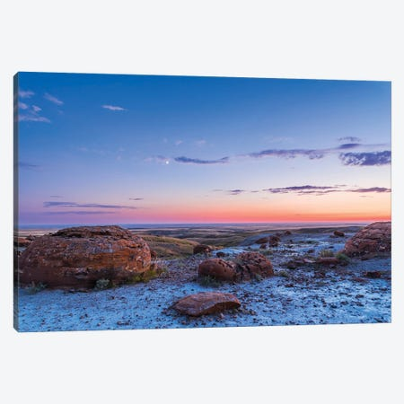 Crescent Moon In The Twilight Sky At Red Rock Coulee, Alberta, Canada. Canvas Print #TRK2991} by Alan Dyer Canvas Wall Art