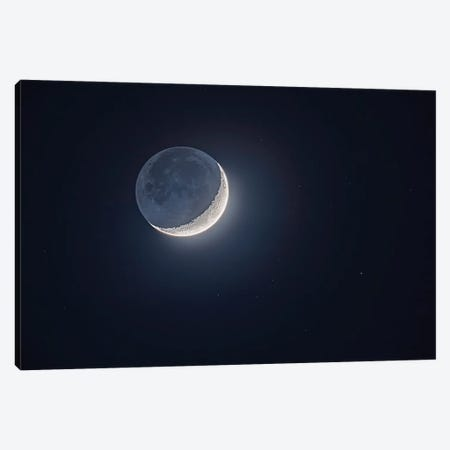 Earthshine Lights The Dark Side Of The Moon On The Waxing Crescent Moon. Canvas Print #TRK2997} by Alan Dyer Canvas Art Print