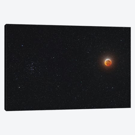 Eclipsed Moon Beside The Beehive Star Cluster. Canvas Print #TRK2998} by Alan Dyer Canvas Artwork