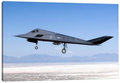 F-117 Nighthawk Flies A Training Sortie Over New Mexico Canvas Art Print