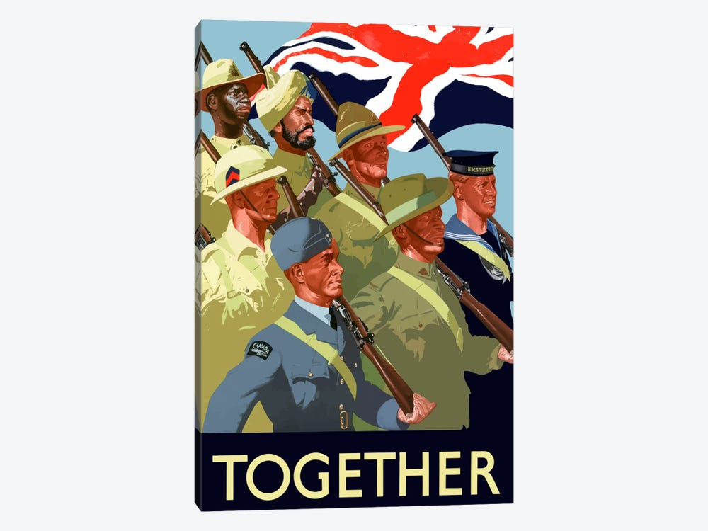 Multinational War Effort Poster by John Parrot 1-piece Canvas Artwork
