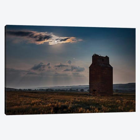 Full Moon And Mars Rising Over An Abandoned Grain Elevator In The Red Deer River Valley, Canada. Canvas Print #TRK3008} by Alan Dyer Canvas Art Print