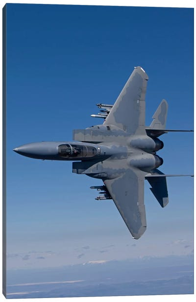 F-15 Eagle Conducts Air-To-Air Training Over Oregon Canvas Art Print