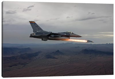 F-16 Fighting Falcon Fires An AGM-65 Maverick Missile Canvas Art Print