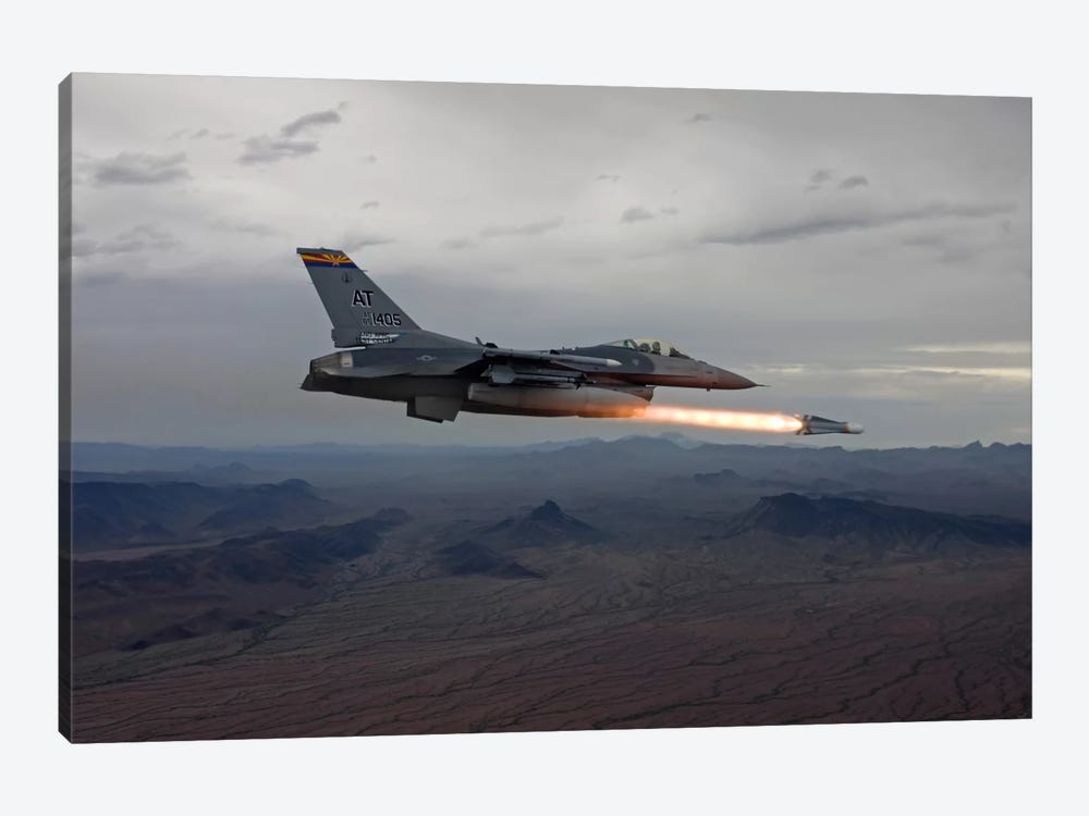 F-16 Fighting Falcon Fires An AGM-65 Maverick Missile 1-piece Canvas Artwork