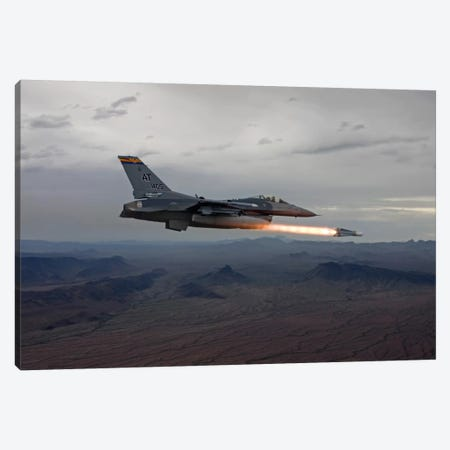 F-16 Fighting Falcon Fires An AGM-65 Maverick Missile Canvas Print #TRK301} by HIGH-G Productions Canvas Artwork