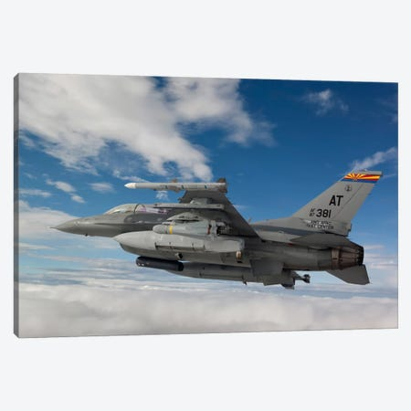 F-16 Fighting Falcon Flies With An AGM-65 Maverick Missile Canvas Print #TRK302} by HIGH-G Productions Canvas Artwork