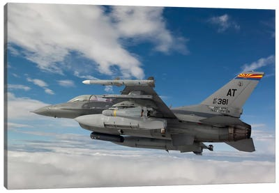 F-16 Fighting Falcon Flies With An AGM-65 Maverick Missile Canvas Art Print
