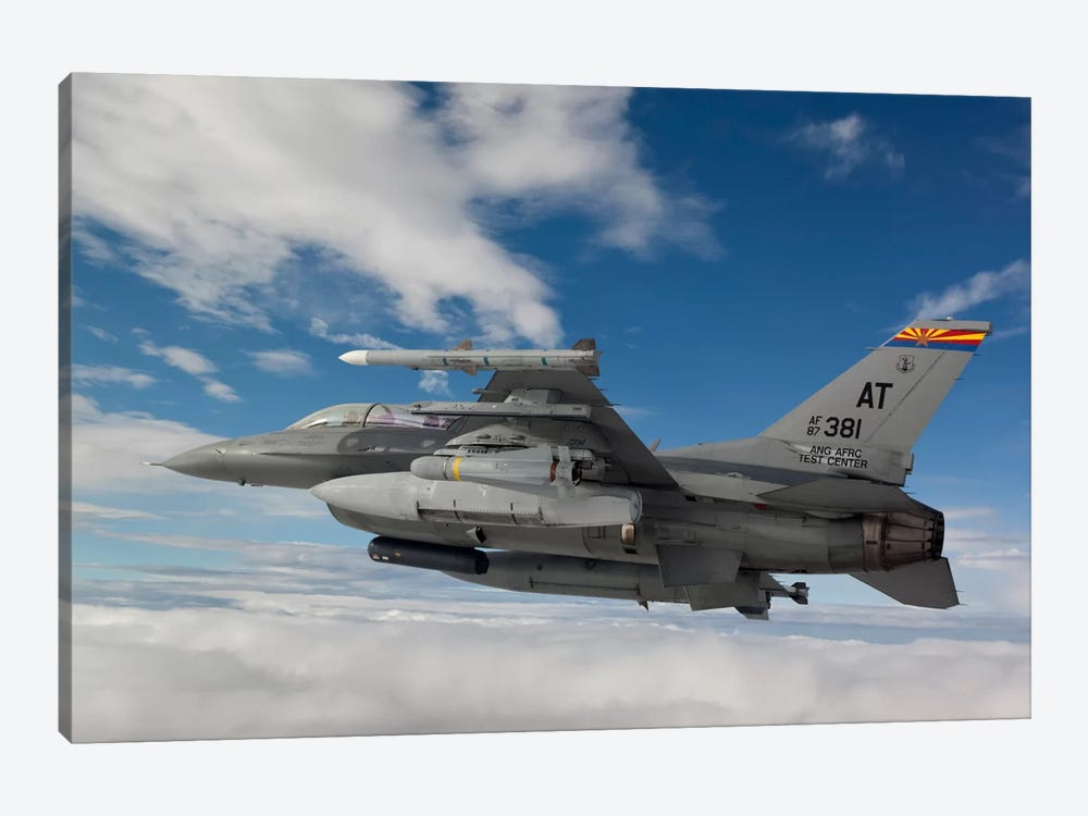 F-16 Fighting Falcon Flies With An AGM-65 Maverick Missile by HIGH-G Productions 1-piece Art Print