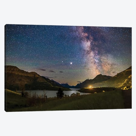 Milky Way And Planets Jupiter And Saturn Over Waterton Lakes National Park, Alberta, Canada. Canvas Print #TRK3033} by Alan Dyer Canvas Artwork