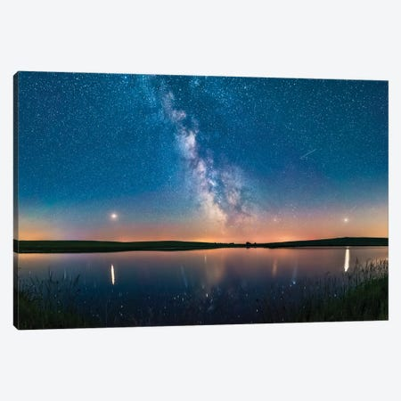 Milky Way And Planets Over A Prairie Pond In Southern Alberta, Canada. Canvas Print #TRK3034} by Alan Dyer Art Print