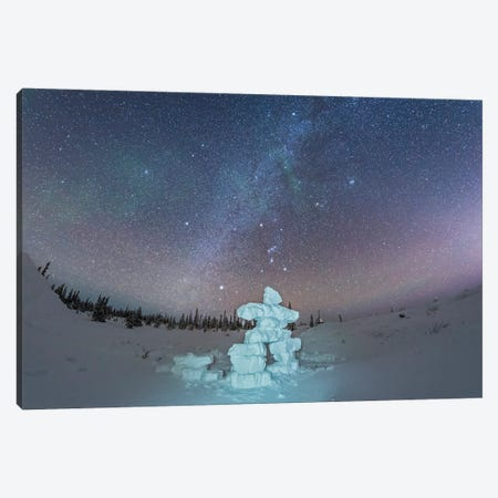 Milky Way And Winter Stars Over A Mock-Up Inukshuk Figure Made Of Snow, Canada. Canvas Print #TRK3035} by Alan Dyer Art Print
