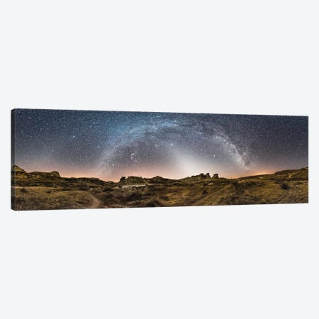 Milky Way Arches Across The Sky At Dinosaur Provincial Park, Alberta, Canada. Canvas Print #TRK3036} by Alan Dyer Canvas Print