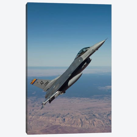 F-16 Fighting Falcon Maneuvers Over Arizona Canvas Print #TRK303} by HIGH-G Productions Canvas Art