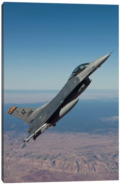 F-16 Fighting Falcon Maneuvers Over Arizona Canvas Art Print