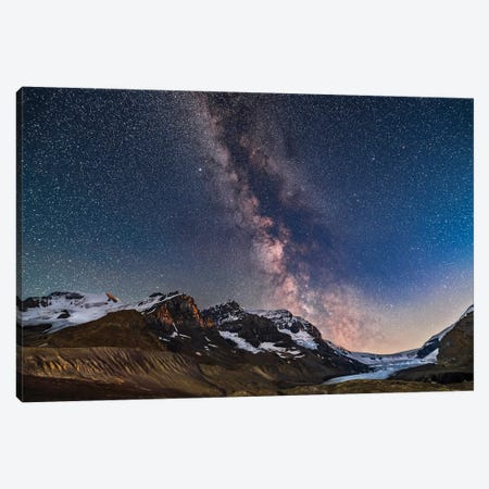 Milky Way Over Mount Andromeda And Mount Athabasca In Jasper National Park, Canada. Canvas Print #TRK3041} by Alan Dyer Art Print