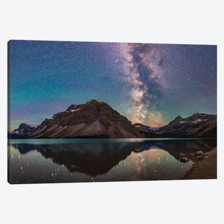 Milky Way Reflections At Bow Lake In Banff National Park, Alberta, Canada. Canvas Print #TRK3042} by Alan Dyer Canvas Print