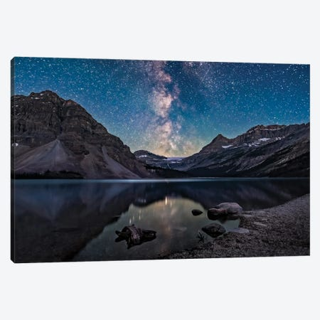 Milky Way Setting Behind Bow Glacier At The End Of Bow Lake In Banff National Park, Canada. Canvas Print #TRK3043} by Alan Dyer Canvas Art Print