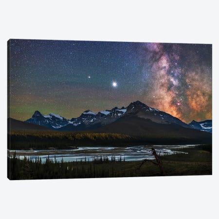 Milky Way, Jupiter And Saturn Over The Saskatchewan River And Mount Chephren, Canada. Canvas Print #TRK3044} by Alan Dyer Canvas Art