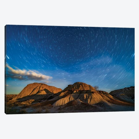 Moonrise Over The Eroding Formations Of Dinosaur Provincial Park, Alberta, Canada. Canvas Print #TRK3049} by Alan Dyer Canvas Art Print