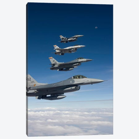 Four F-16's Fly In Formation During A Training Mission Over Arizona Canvas Print #TRK304} by HIGH-G Productions Canvas Art Print