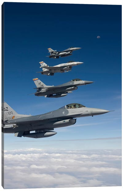 Four F-16's Fly In Formation During A Training Mission Over Arizona Canvas Art Print