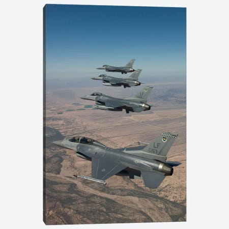 Four F-16s Maneuver On A Training Mission Over The Arizona Desert Canvas Print #TRK305} by HIGH-G Productions Art Print