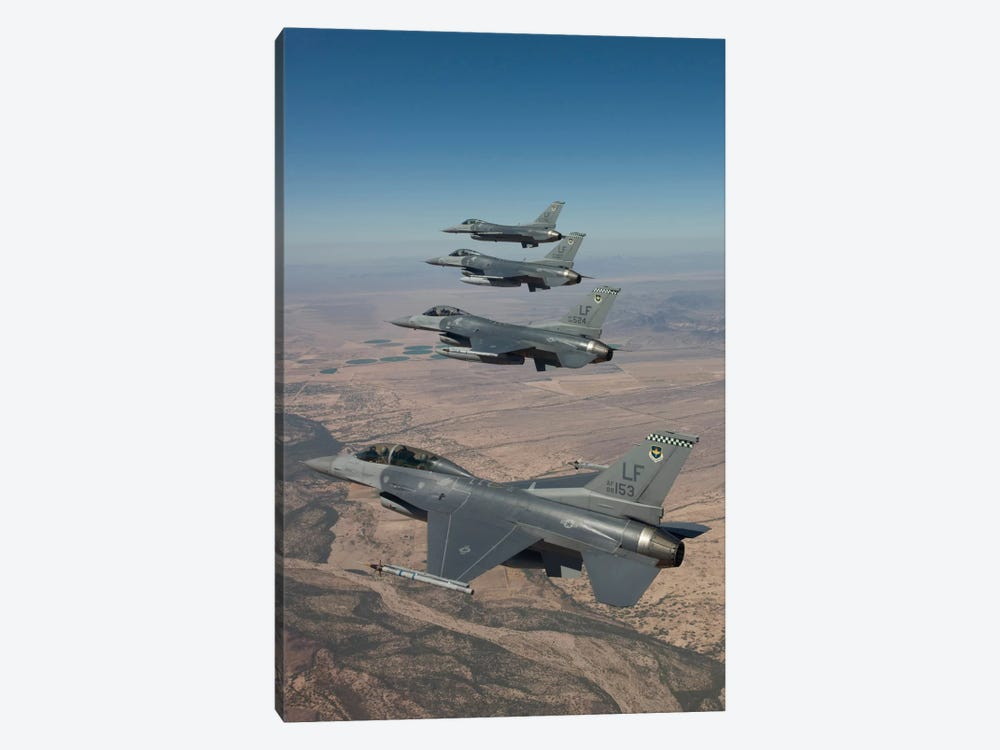 Four F-16s Maneuver On A Training Mission Over The Arizona Desert by HIGH-G Productions 1-piece Canvas Artwork