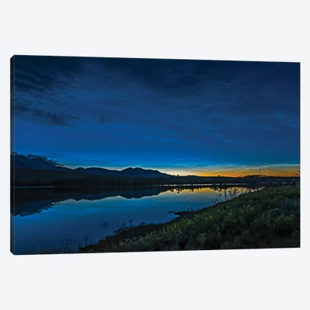 Noctilucent Clouds Glowing And Reflected In Calm Waters Of The Waterton River, Alberta, Canada. Canvas Print #TRK3060} by Alan Dyer Art Print