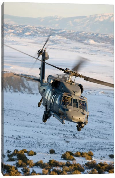 HH-60G Pave Hawk Flies A Low Level Route Over New Mexico Canvas Art Print