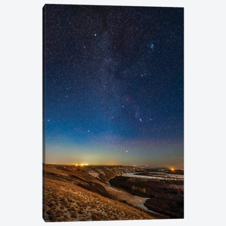 Orion And The Winter Stars And Constellations Rising Above The Bow River In Alberta, Canada. Canvas Print #TRK3072} by Alan Dyer Canvas Wall Art