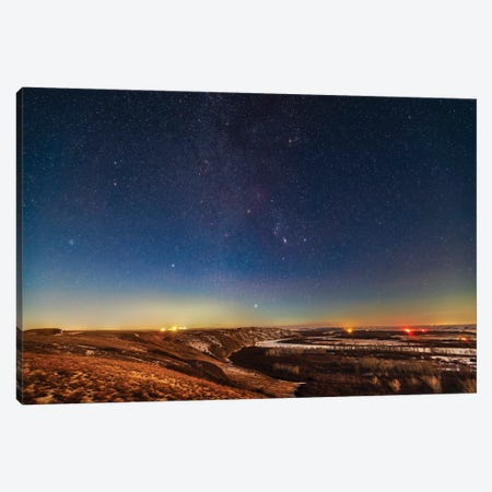Orion And The Winter Stars From A Viewpoint Overlooking The Bow River In Alberta, Canada. Canvas Print #TRK3075} by Alan Dyer Canvas Print