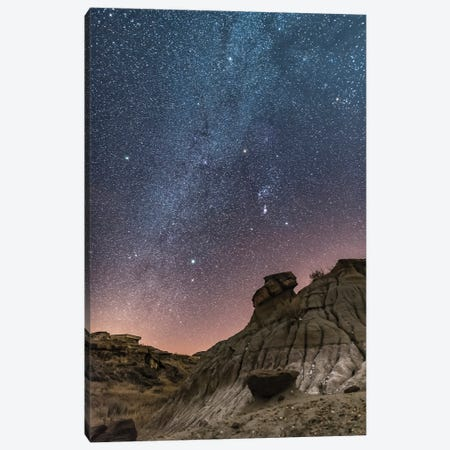 Orion And The Winter Stars Over The Badlands Of Dinosaur Provincial Park, Canada. Canvas Print #TRK3076} by Alan Dyer Art Print