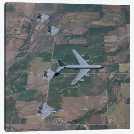 KC-135R Stratotanker Refuels Four F-15 Eagles Over Oregon Canvas Print #TRK307} by HIGH-G Productions Canvas Print