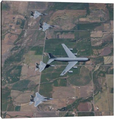 KC-135R Stratotanker Refuels Four F-15 Eagles Over Oregon Canvas Art Print